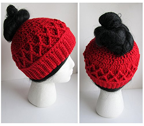 343353c6633 Image Unavailable. Image not available for. Color  Messy Bun Hat - Crochet Pony  Tail Hat - Knit Bun Beanie ...
