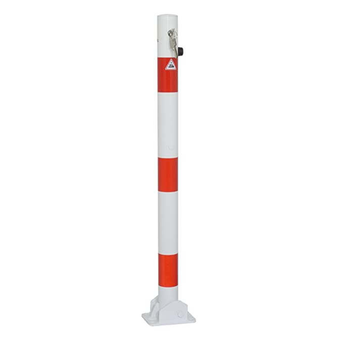 Absperrpfosten /Ø 60 mm umlegbar zum Einbetonieren mit Profilzylinderschloss und Bodenh/ülse inkl. 3 Schl/üssel