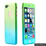 iPhone 7 Plus Case,AICase Ultra Thin Full Body Coverage Protection Soft PC [Dual Layer][Slim Fit] Case with Tempered Glass Screen Protector for iphone 7 Plus (Green)