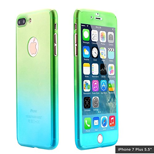 Ai-case C-134 Ultra Thin Full Body Coverage Protection Soft PC, Dual Layer, Slim Fit Case with Tempered Glass Screen Protector for iPhone 7 Plus - (Green Iphone)