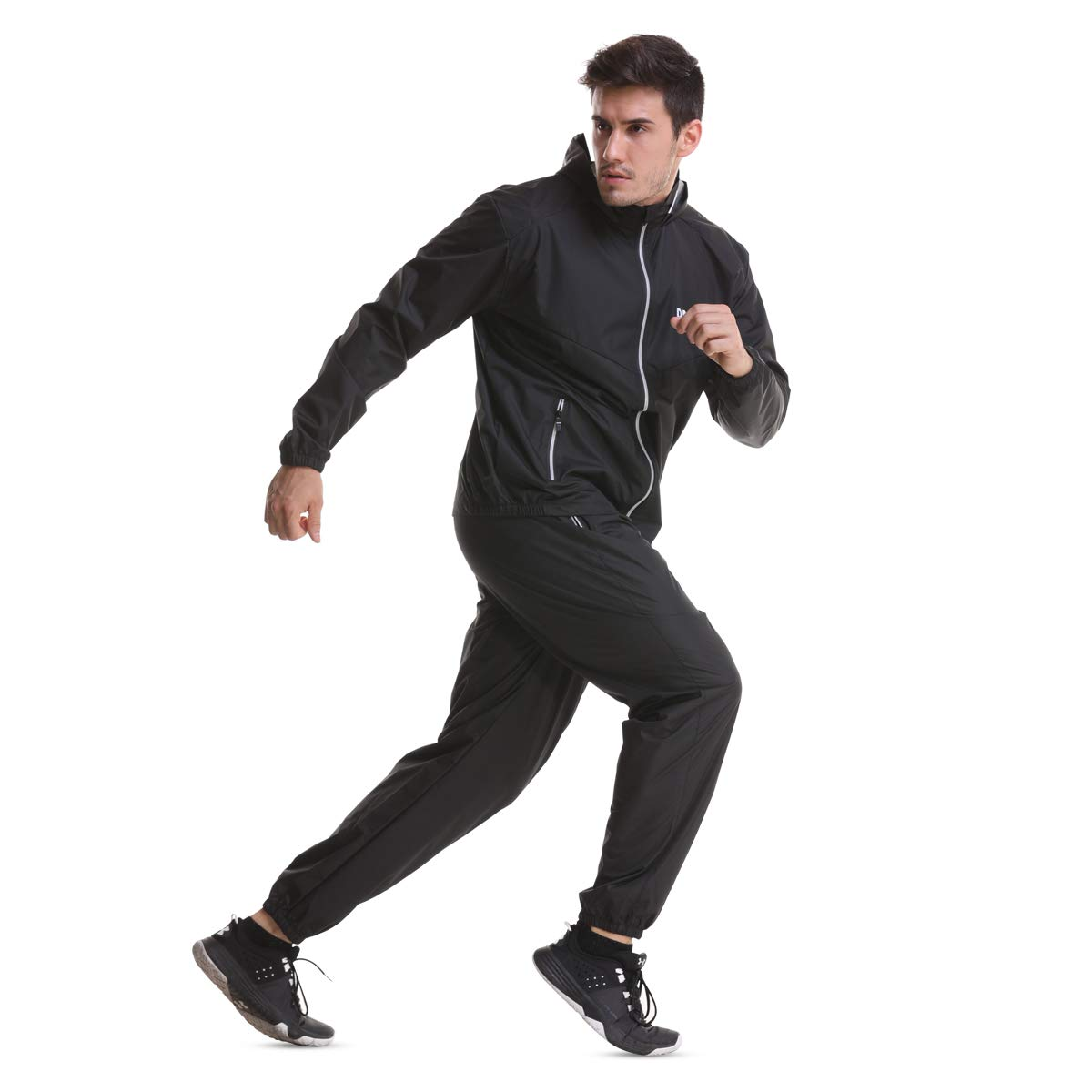 DNRZY F.I.T Sauna Sweat Suits for Men and Women Weight Loss Fat Burner Fitness Sauna Sweat Ruining Jogging Waterproof Windproof Hooded Jacket and Pants Suits Workout Suits