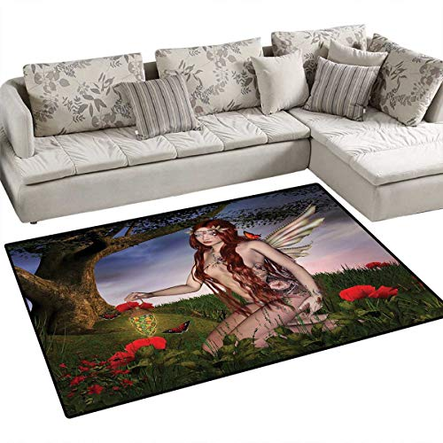 Fantasy Bath Mats Carpet Redhead Fairy with Wings Holding a Butterfly Catcher Lantern Surrounded by Poppies Door Mats for Inside Non Slip Backing 40