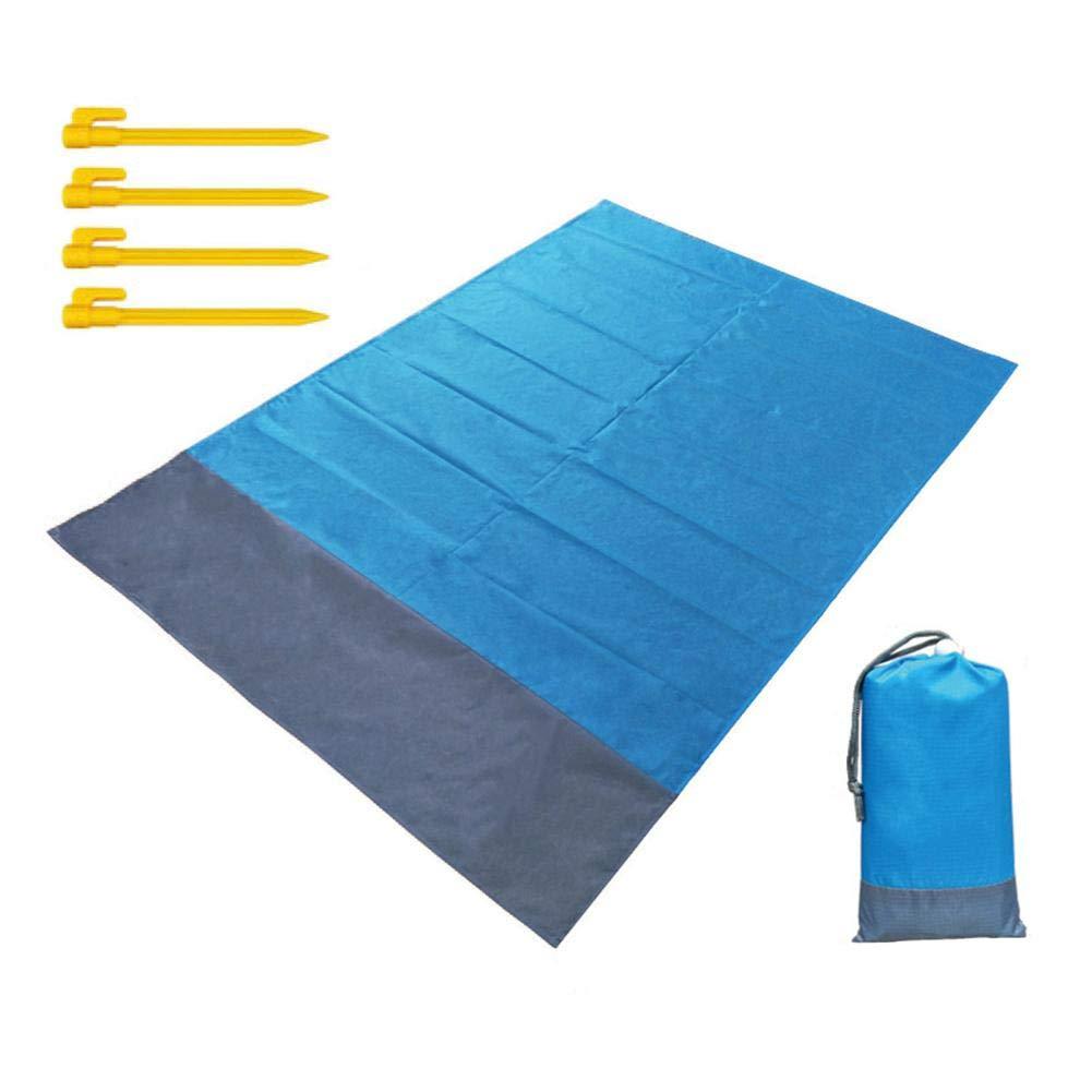 Ripstop Compact impermeable manta de picnic Manta de playa Senderismo para acampar resistente al calor ideal para viajes de playa prueba de arena esterilla de playa con 4 estacas de pl/ástico