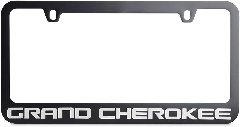 Eurosport Daytona Jeep Grand Cherokee License Plate Frame Black with Mirrored Script