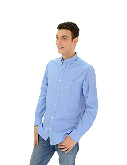 Camisa Gant Lisa de Manga Larga Azul de Hombre 2XL Azul: Amazon.es ...