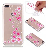 Case for iPhone 7 Plus, for iPhone 8 Plus Case, CrazyLemon Ultra Thin Transparent Soft TPU Clear Silicone Gel Skin Shell Varnish Technology Embossed 3D Creative Pattern Design Shock Proof Durable Scratch Resistant Rubber Protective Cover Case for iPhone 7 Plus / iPhone 8 Plus 5.5 inch - Butterfly Flowers