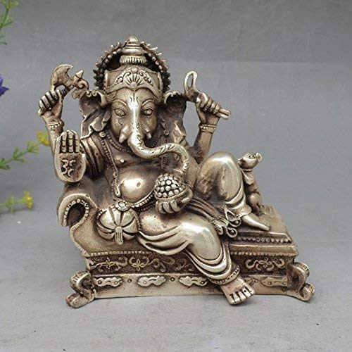 """6"""" Lucky Collectables Nepalese Buddhism Silver 4 Arms Ganesh Elephant Mammon Buddha Mouse Statue Figurine/Gifts/Office/Ornament/Crafts/Home Decorations"""