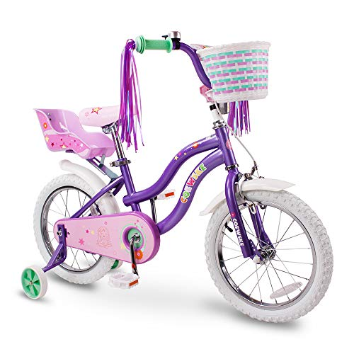 COEWSKE Kid's Bike Steel Frame Children Bicycle Little Princess Style 14-16 Inch with Training Wheel (Purple, 16 Inch) ()