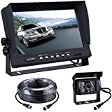 Truck Bus Backup camera and Monitor kit with 9 inch digital LCD Monitor Waterproof night vision Rear View Camera and 66ft 4 Pin cable for Bus Truck Van Trailer RV Campers(12V 24V) …