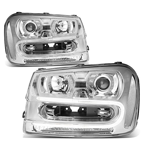 For Chevy Trailblazer Pair of Chrome Housing Clear Corner LED U-Running Projector Headlight ()