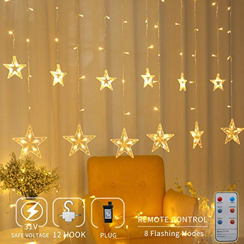 Areskey Star Christmas Lights,138 LED 12 Star Curtain String Lights,Waterproof Star Lights Decorative Bedroom Indoor Outdoor Window Wedding Party Garden,8 Modes RF Remote,Warm White