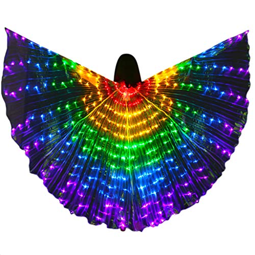 Tantisy ♣↭♣ Women LED Isis Wings Glow Light Up Belly Dance Costumes with Sticks Performance Clothing Carnival Halloween Party -