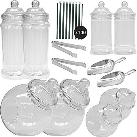 8 Plastikbeh/älter /& 100 Schwarz Beutel Vintage Viktorianische Pick /& Mix Polka Dot S/ü/ßigkeiten Buffet Kit