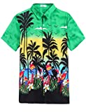 Forest Tropical Hawaiian Batik Shirt Green,XXL