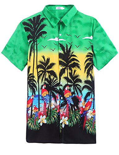 Forest Tropical Hawaiian Batik Shirt Green,XXL by Halife