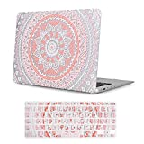 iCasso Macbook Air 11 Inch Case Rubber Coated Glossy Hard Shell Plastic Protective Cover For Macbook Air 11 inch Model A1370/A1465 With Keyboard Cover -Pink&White Medallion