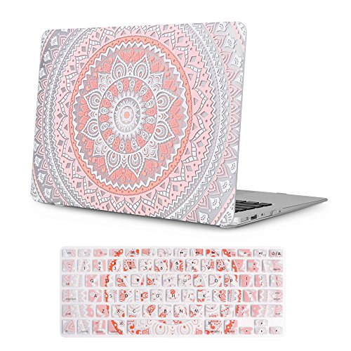 iCasso Macbook Air 13 inch Rubber Coated Soft Touch Hard Shell Protective Case Cover For Apple Laptop Macbook Air 13 Inch Model A1369/A1466 With Keyboard Cover- Pink&White Medallion (Laptop Carrying Case Design)
