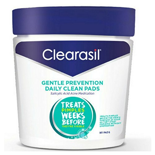 Clearasil Daily Clear Acne Face Pore Cleansing Pads, Hydra-Blast Oil-Free Facial Pads, 90 (Oil Control Cleansing Wipes)