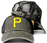 American Needle Pittsburgh Pirates MLB Raglan Bones Soft Mesh Back Slouch Twill Cap Black
