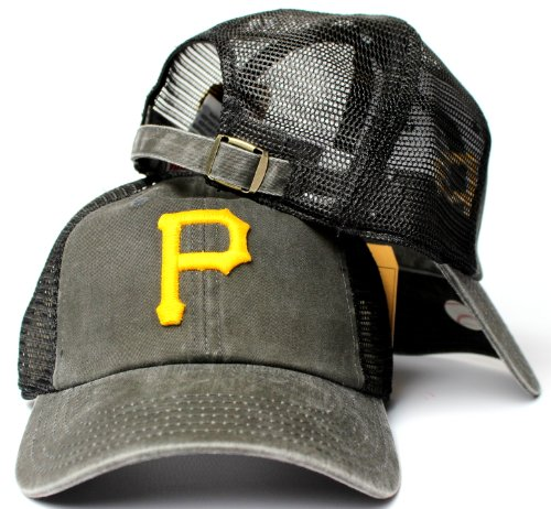 - American Needle Pittsburgh Pirates MLB Raglan Bones Soft Mesh Back Slouch Twill Cap Black
