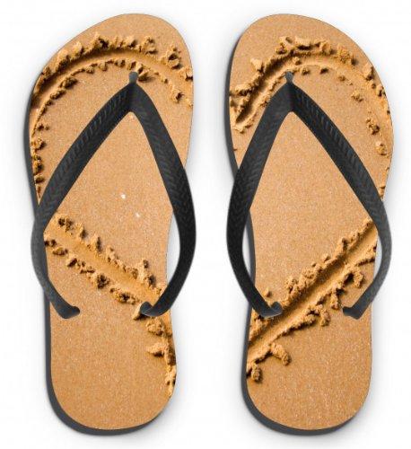 Flip Flops Motiv Herz im Sand Größe S (35-37)