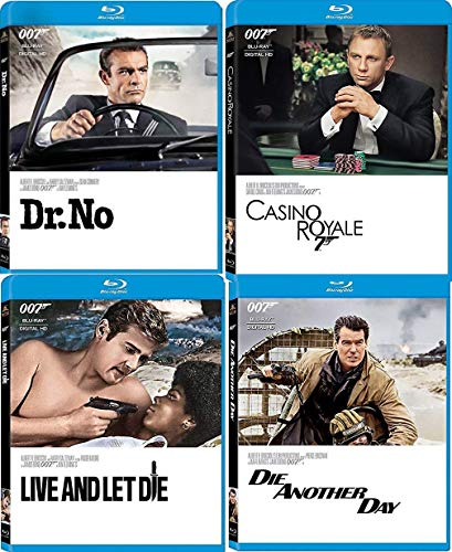 (Agents on a Spy 4 Mission Movies Dr. No Sean Connery 007 James Bond & Roger Moore Blu Ray Live Let Die / Casino Royale Daniel Craig + Die Another Day Pierce Brosnan Four film Action Set Collection)