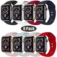 RUOQINI Compatible con Apple Watch Band 1.496in 1.654in 1.575in 1.732in, Sport Silicona suave banda de repuesto compatible para Apple Watch Series 4/3/2/1