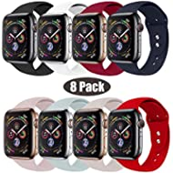 RUOQINI Compatible with Apple Watch Band 38mm 42mm 40mm 44mm,Sport Silicone Soft Replacement Band...