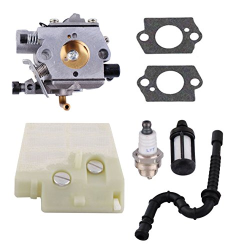 Chainsaw Walbro Carburetor - Podoy MS260 Carburetor for STIHL WT-403B Carb 024 026 MS240 260 with Air Fuel Filter Fuel Line Spark Plug Kit Fit Walbro Chainsaw