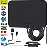 Digital HD TV Antenna, Indoor Amplified HDTV Antenna 60 Miles Range for 1080P 4K Free HD Television Channels with Integrated Amplifier Signal Booster and 16.5Ft Coax Cable - 2018 Upgraded Version