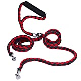 Double Dog Leash No Tangle, PETBABA 1.4m/4.6FT Long Padded Handle Nylon Braided Dog Lead for 2 Dogs Red