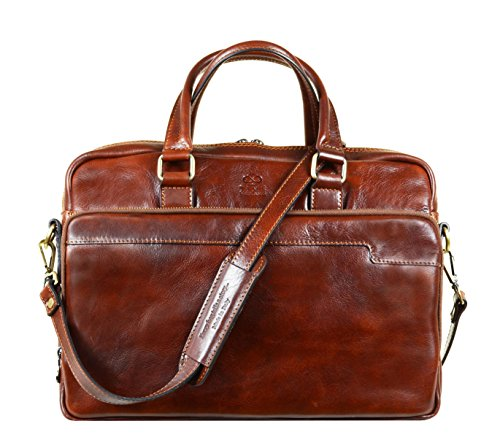Leather Laptop Bag Full Grain Office Briefcase Unisex Brown – Time Resistance