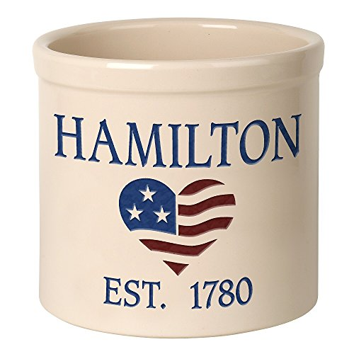 - Personalized Heart Flag Stoneware 2 Gallon Crock (2 Lines)