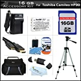 16GB Accessory Kit For Toshiba Camileo X100 H30 HD Camcorder Includes 16GB High Speed SD Memory Card + Extended (1850Mah) Replacement PX1657 Battery + Ac/Dc Travel Charger + 50'' Tripod + Deluxe Case + Mini HDMI Cable + Screen Protectors + More