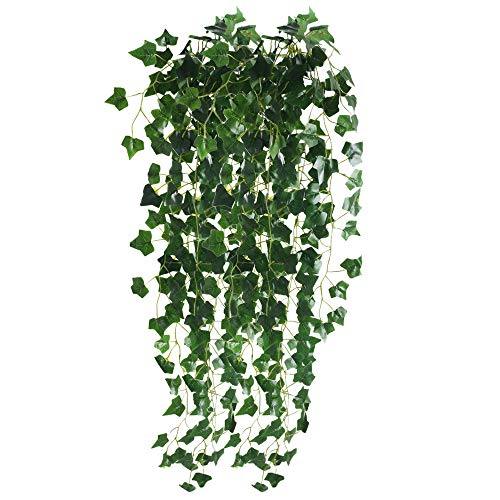 (XYXCMOR Ivy Vines 2pcs Fake Hanging Plants Artificial Greenery Silk Ivy Leaves for Weeding Jungle Party Indoor Outdoor Shelve Hanging Basket)