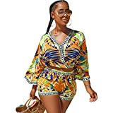 Yeshire Womens 2 Piece Outfit - Casual Floral Boho 2 Piece Sets Crop Top and Shorts Set Small Yellow