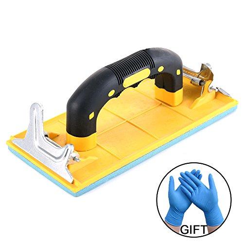 Hand Sander Holder Sandpaper Tool With Soft Sponge Pad Rubber Handle for Grind (7.08x3.35 inches) Free Nitrile (Metal Sandpaper Holder)