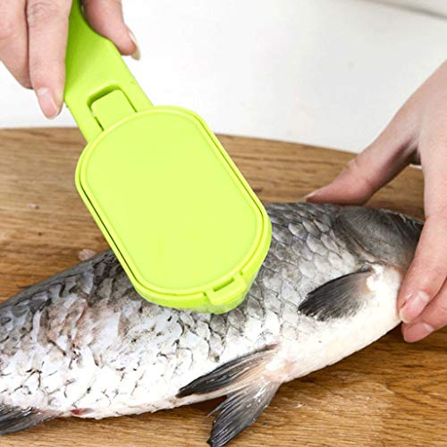 CapsA Skinner Scaler Fishing Tools Stainless Steel Fish Scale Remover Cleaner Scaler Scraper Kitchen Peeler Tool (Green)
