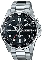 Casio Men's MTD-1079D-1A Black Dial Stainless Steel Band 100m Day Date Light Watch