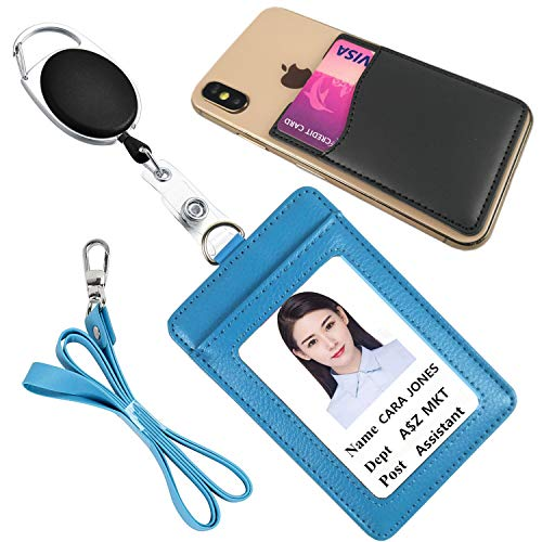 Lucstar Badge Holder Reel Clip Retractable Lanyard,Genuine Leather Credit Card Wallet Holder for Cellphone,ID Card Holder Vertical for Women Men Students Nurse Office ID Tag Gift(A Ciel) ()