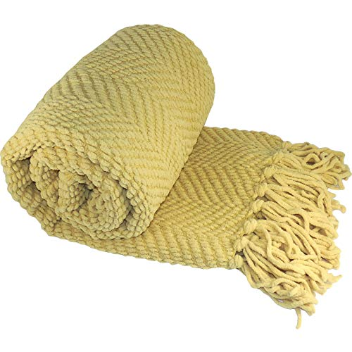 - Home Soft Things Knitted Tweed Throw Couch Cover Blanket, 50 x 60, Jo Joba Yellow