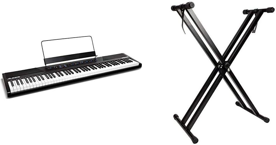 Alesis RecitalTeclado de Piano Digital Eléctrico con 88 Teclas Semipesadas de Tamaño Completo + RockJam Soporte de teclado de doble refuerzo, ...