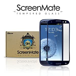 iloome Samsung Galaxy S3(Blue) ScreenMate Real Tempered Glass 9H Hardness Premium Screen Protector with Oleophobic Coating, including Blue Aluminum Home Button