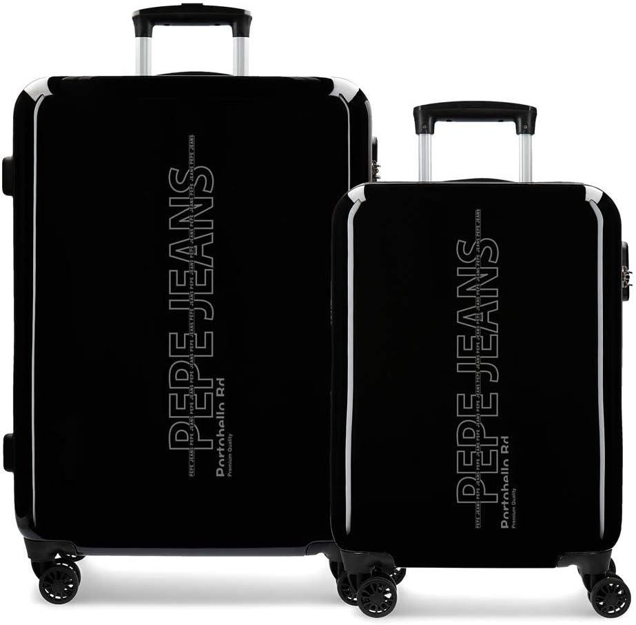 Pepe Jeans Ason Juego de maletas, 69 cm, 114 litros, Negro