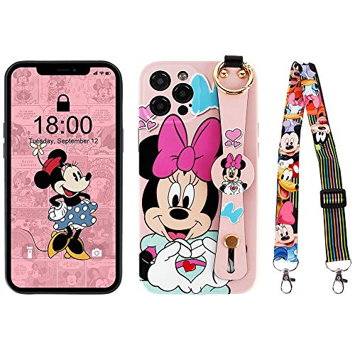 Kcorch iPhone 12 Pro Max Case, Cute Cartoon Personalized Full Protective Phone Cover with Wrist Strap and Lanyard Compatible with iPhone 12 Pro Max 6.7 Inch 2020