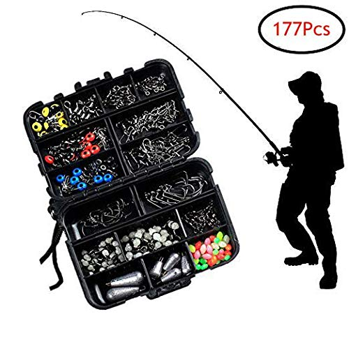 Jka Uthr 177 Pcs Fishing Accessories Kit, Snaps Fishing Accessories Set - Including Jig Hooks, Fishing Swivels, Bullet Bass Casting Sinker Weights, Fishing Line Beads, Fishing Set with Tackle Box