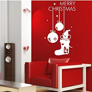 60 45cm merry christmas lovely pvc vinyl art for Christmas wall art amazon