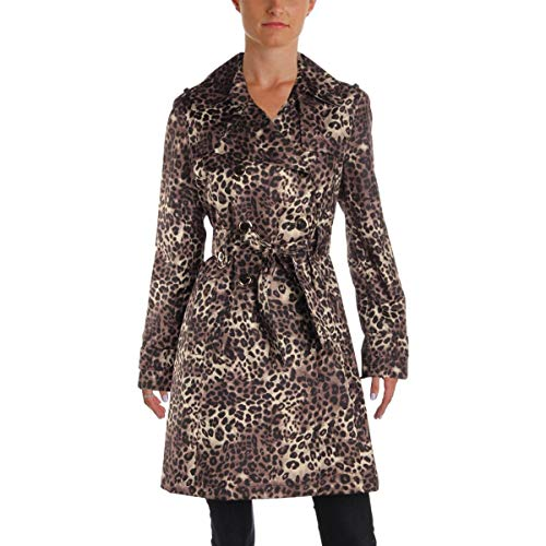 Coat Via Wool Belted (Via Spiga Women's Animal Print Trench Coat, Leopard, M)