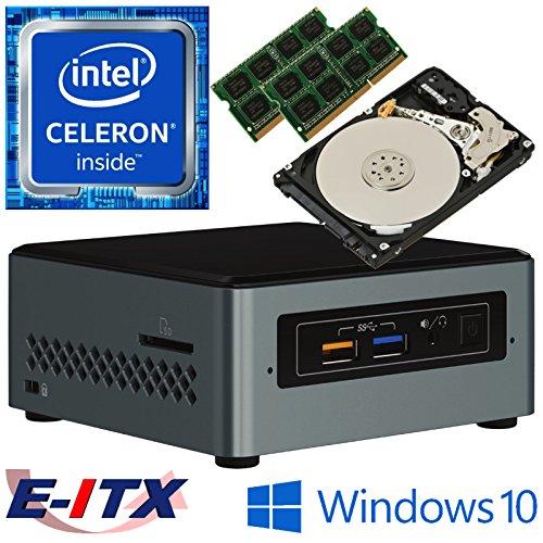 Intel NUC6CAYS Quad Core Celeron NUC System, 8GB Dual Channel DDR3L, 32GB eMMC Onbaord SSD + 2TB HDD, Win 10 Home Installed & Configured by E-ITX ()