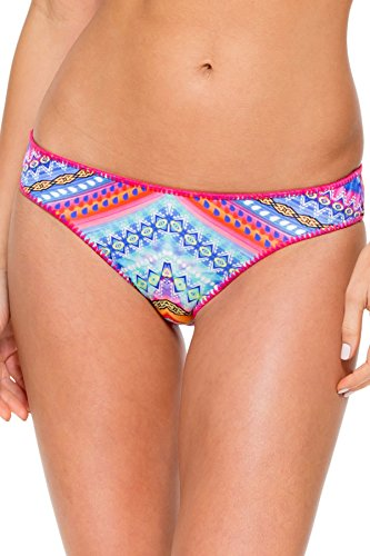 Luli Fama Women's Star Girl Stitched Around Reversible Full Bikini Bottom, Multi, (Reversible Full Swimsuit Bottoms)